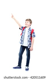 Young boy with backpack on a white background