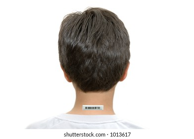 Young boy with bar code tag on the back of his neck