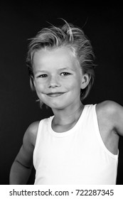 Young boy in black and white