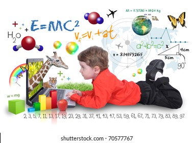 A young boy child is looking at a laptop computer with math, science and animals around him. He is on a white background. Use it for a school, study or learning concept.