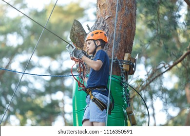 young boy climbs on trees in summer camp, amusement rope park