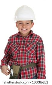 Young boy in construction hardhat smiling