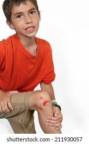 Young boy with cut on his leg