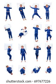 young boy in different sleeping positions set one of two