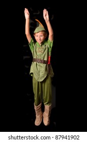 Young boy dressed up as Peter Pan