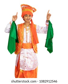 Young Boy Dressed in a Traditional North Indian Bhangra Dance Costume, Isolated, White
