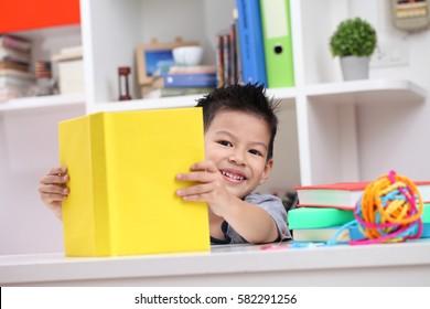 Young boy enjoying his reading book indoor setting.