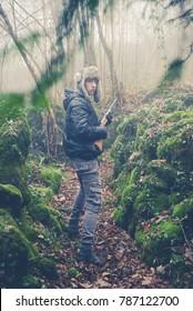 young boy explorer - vintage style photo