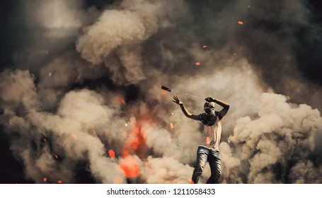 Young boy in fire To protect the homeland