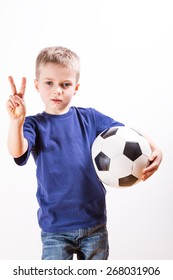 Young boy with a football ball