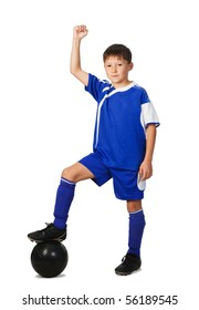 A young boy football player in blue uniform isolated on white