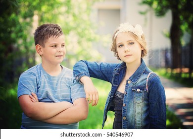 Young Boy and Girl Children Outdoors