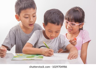 young boy and girl enjoy working.