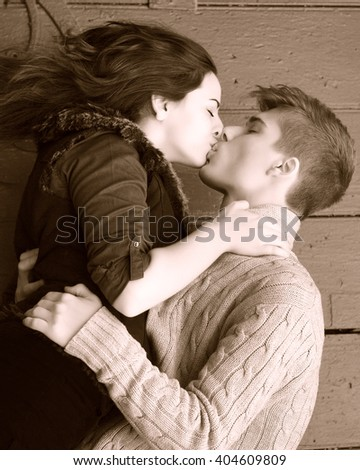 Young Boy Girl Hugging Kissing Closed Stock Photo Edit Now