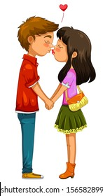 young boy and girl kissing