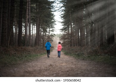 Young boy and girl walking alone through dark spooky creepy forest woodland on their own. Path through eerie atmospheric tall trees with light rays shining from above.