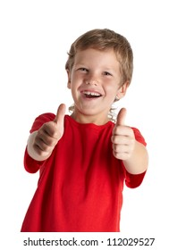 Young boy giving you thumbs up isolated on white background