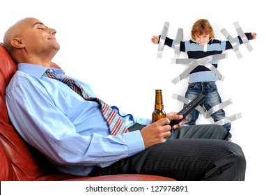 Young boy glued to the wall with duct tape, so daddy can relax and have a beer
