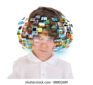A young boy has different media images around his head on a white background. Use it for an education or television concept.