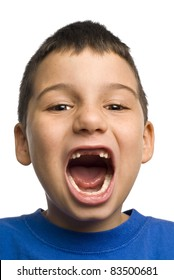 A young boy has lost his two front teeth.