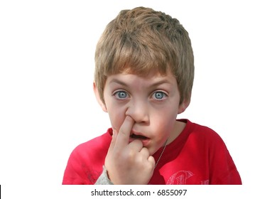 A young boy has a stupid look on his face with his finger in his nose. File contains clipping path.