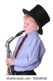 young boy with hat and sax isolated on white background