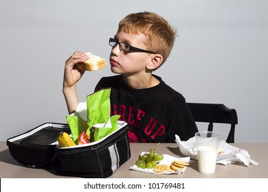 Young boy having his lunch at school
