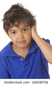 young boy hear disease - otitis