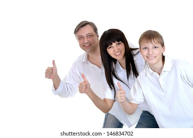 young boy and his parents in white T-shirts isolated on white background