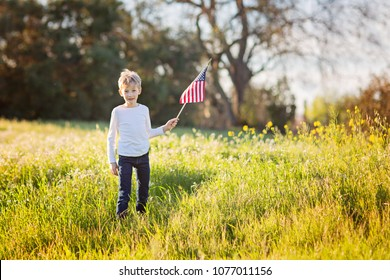 young boy holding american flag celebrating 4th of july, independence day, or memorial day in the park, copy space on right