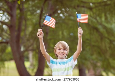 Young boy holding an american flag on a sunny day