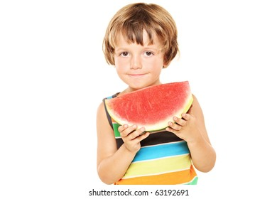 A young boy holding a slice of watermelon isolated against white background