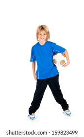a young boy holding a soccer ball on a white background