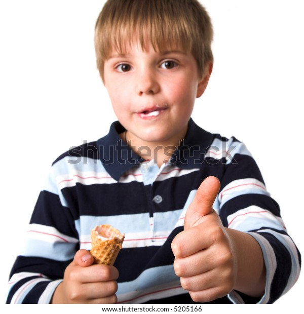 Young boy with icecream isolated at the white background