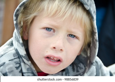 young boy with intense stare