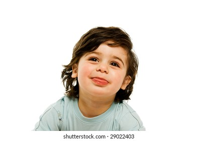 Young boy isolated on a white background wearing summer wear