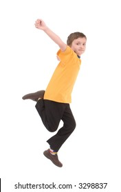Young boy jumping up isolated on white