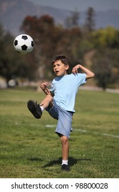 A young boy kicks a soccer ball in a park setting