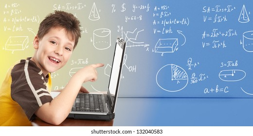 Young boy with laptop computer. Over abstract background.