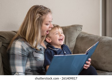 A young boy laughs as his mother reads him a story with great expression.