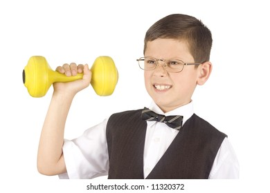 Young boy lifting weights isolated on white background