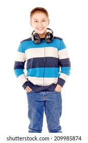 young boy listening to music isolated in white