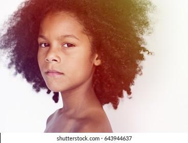 Young boy making facial expression