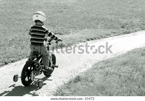 Young boy on his bike