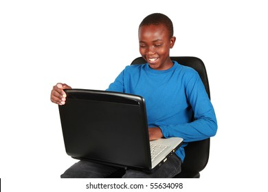 Young boy on a laptop. Education is your future.