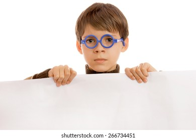 Young boy on a white background
