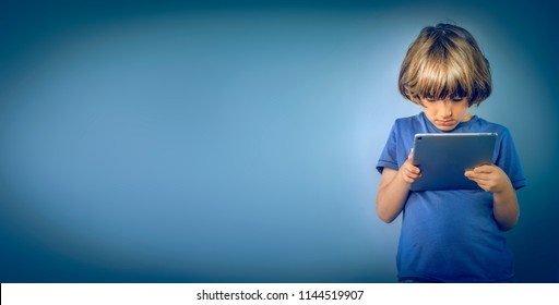 young boy  and online safety concept