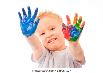 Young Boy with painted hands