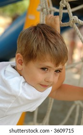 young boy at parkland playground