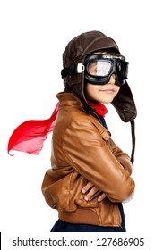 Young boy pilot isolated in white